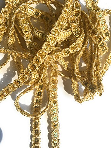 3/8'' Gold Metallic Gimp Sequins Trims, Gold Braid Trimmings 5 Yards