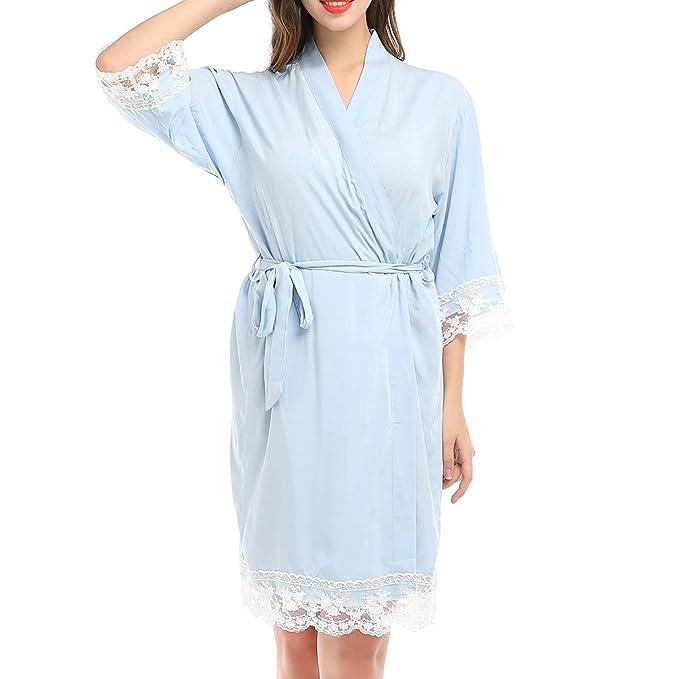 Mxssi Nuevo Algodón de Dama de Honor Suave Pijamas Niñas Wedding Party Kimono Mujeres Albornoces Vestido Sólido Partido Camisón: Amazon.es: Ropa y ...