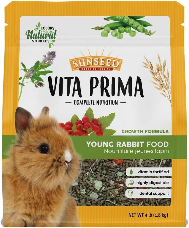 Sunseed Vita Prima Young Rabbit Food, 4 Pounds, Growth Formula
