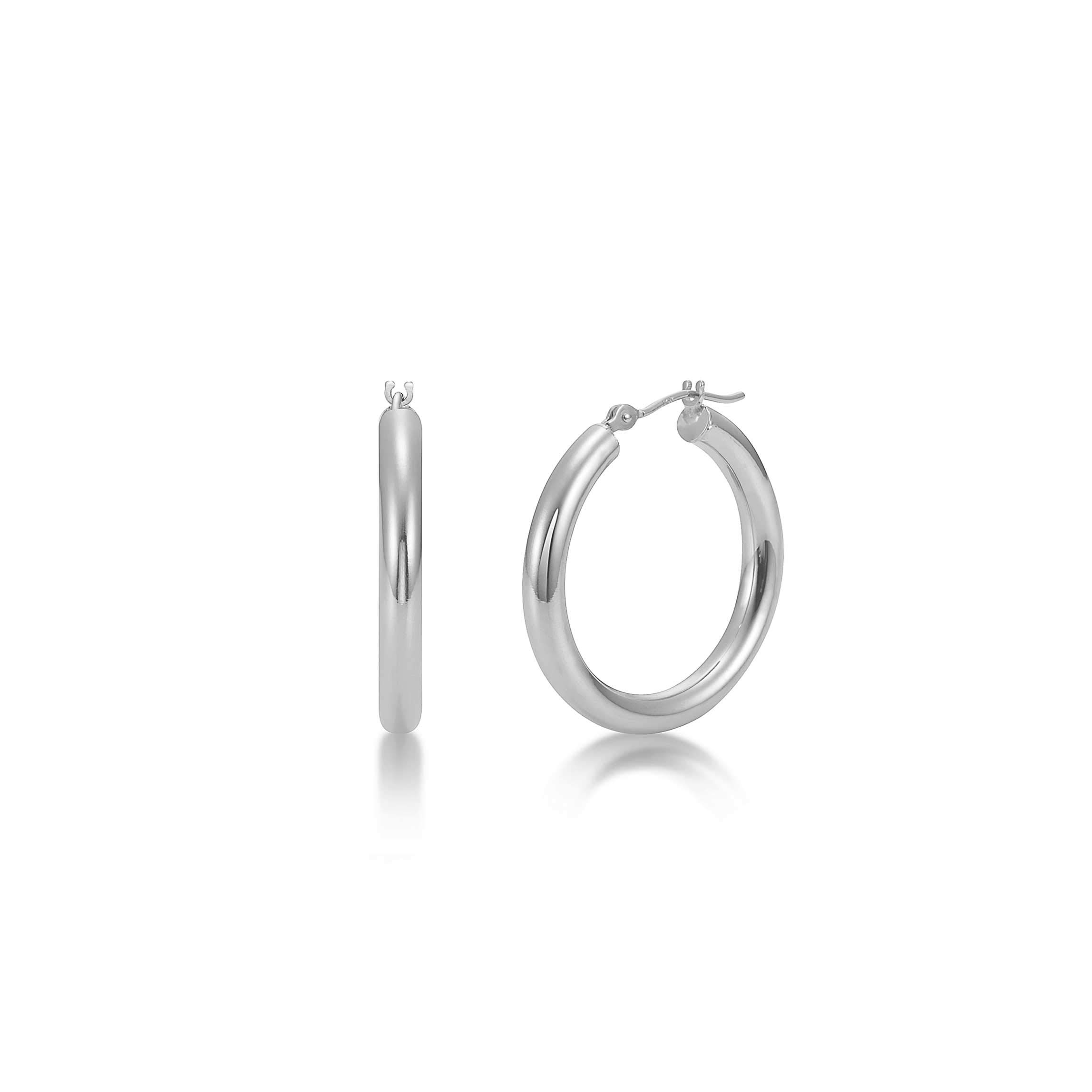 Sterling Silver Hoop Earrings - 3mm x 18mm Click-Top Tube Hoop by KEZEF Creations (Image #1)