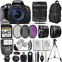 Canon EOS Rebel T5i DSLR Full HD 1080p Camera + Canon 18-135mm IS STM Lens + Digital Camera Flash + 0.43x Wide Angle Lens + 2.2x Telephoto Lens + 3PC Filter Kit (UV-CPL-FLD) - International Version