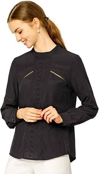 Unique Tie-Neck Long-Sleeve Blouse w Billowy Sleeves