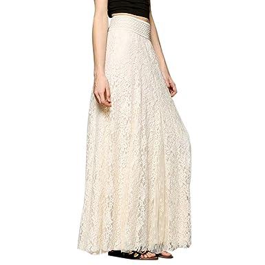 40465541c2c1c Amazon.com: Lace Maxi Skirt, Women Fashion Boho Gypsy Double Layers ...