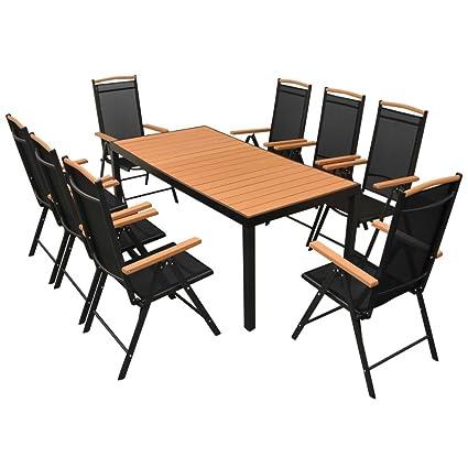 Tidyard Table de Jardin d\'extérieur 9 pcs Aluminium WPC pour Salon, Jardin,  Patio Noir et Marron 185 x 90 x 74 cm