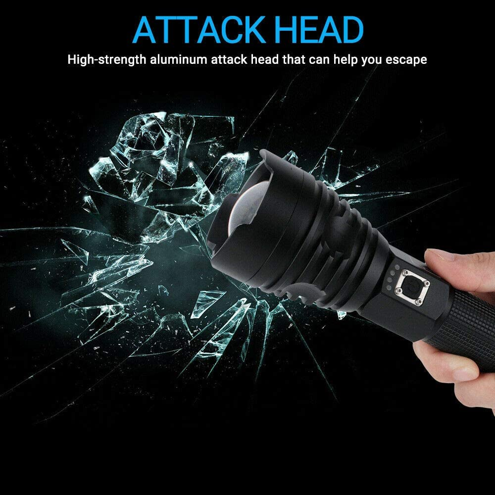 90000 lumens Xhp90 Xhp70 Xhp50 Lumi/ère de poche LED de poche r/ésistante /à leau XHP50 T/élescopique USB Zoom Lampe de poche de camping /étanche