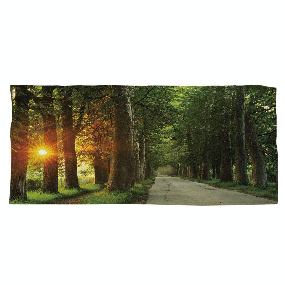 iPrint Large Cotton Microfiber Beach Towel,Nature,Fresh Idyllic Morning Scenery Woods with Rising Sun Peaceful Countryside Decorative,Green Marigold Beige,for Kids, Teens, and Adults