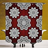Cool Shower Curtain 3.0 by SCOCICI [ Maroon,White Doodle Style Round Mandala Flowers Lacy Victorian Contours Romantic Decorative,Maroon Black White ] Digital Printing Polyester Antique Theme with Adju
