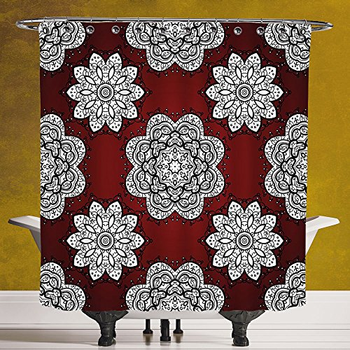 Cool Shower Curtain 3.0 by SCOCICI [ Maroon,White Doodle Style Round Mandala Flowers Lacy Victorian Contours Romantic Decorative,Maroon Black White ] Digital Printing Polyester Antique Theme with Adju by SCOCICI