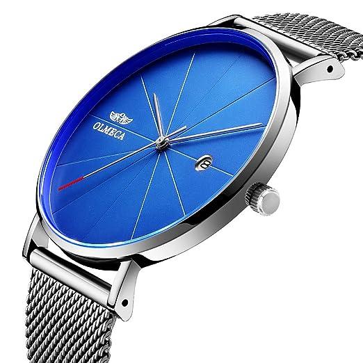 OLMECA Relojes Hombre Moda de Lujo Reloj de Pulsera de Cuarzo Cronógrafo Impermeable con Cuero,