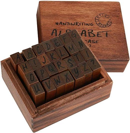Sello de la carta y Sellos de Símbolo, 28pcs juego de sellos de madera vintage con estuche de almacenamiento para hacer tarjetas de bricolaje y Scrapbooking: Amazon.es: Hogar