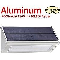 Licwshi 1100 lumens lampe solaire 48LED 4500mAh avec coque en alliage d'aluminum, imperméable en plein air, radar-détection de mouvement, s'appliquant au porche, jardin, cour, garage - blanche chaude (2018 nouvelle version-1 Pack)
