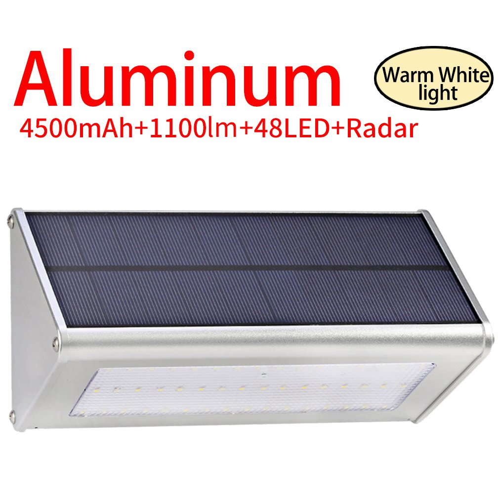 Licwshi 1100 Lumens Solarleuchten 48 LED 4500mAh mit Aluminiumlegierungsgehäuse, Wasserdichtkeit im Freien, Radar-Bewegungsinduktion, es ist geeignet für Laubengang, Garten, Hof, Garage -warm weißes Licht (1 Pack) Licwshi SL01