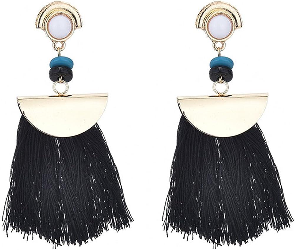 Wansan Tassel Earrings for Women Girls Turquoise Fringe Earrings Bohemian Dangle Drop Stud Earrings Fashion Jewelry Valentine Birthday