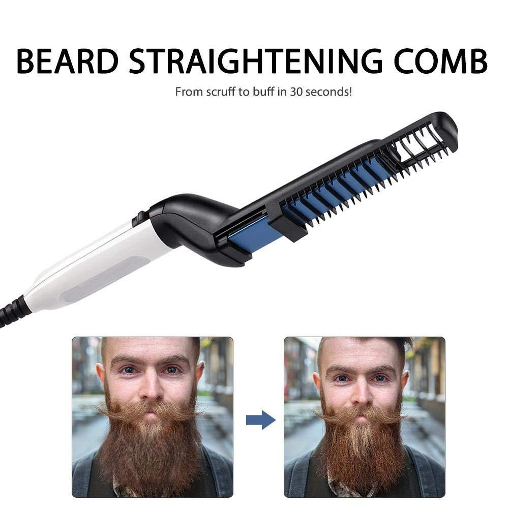 Electric Hair Comb,Quick Beard Straightener Comb,Multifunctional Quick Curling Curler Straightener Comb for Men