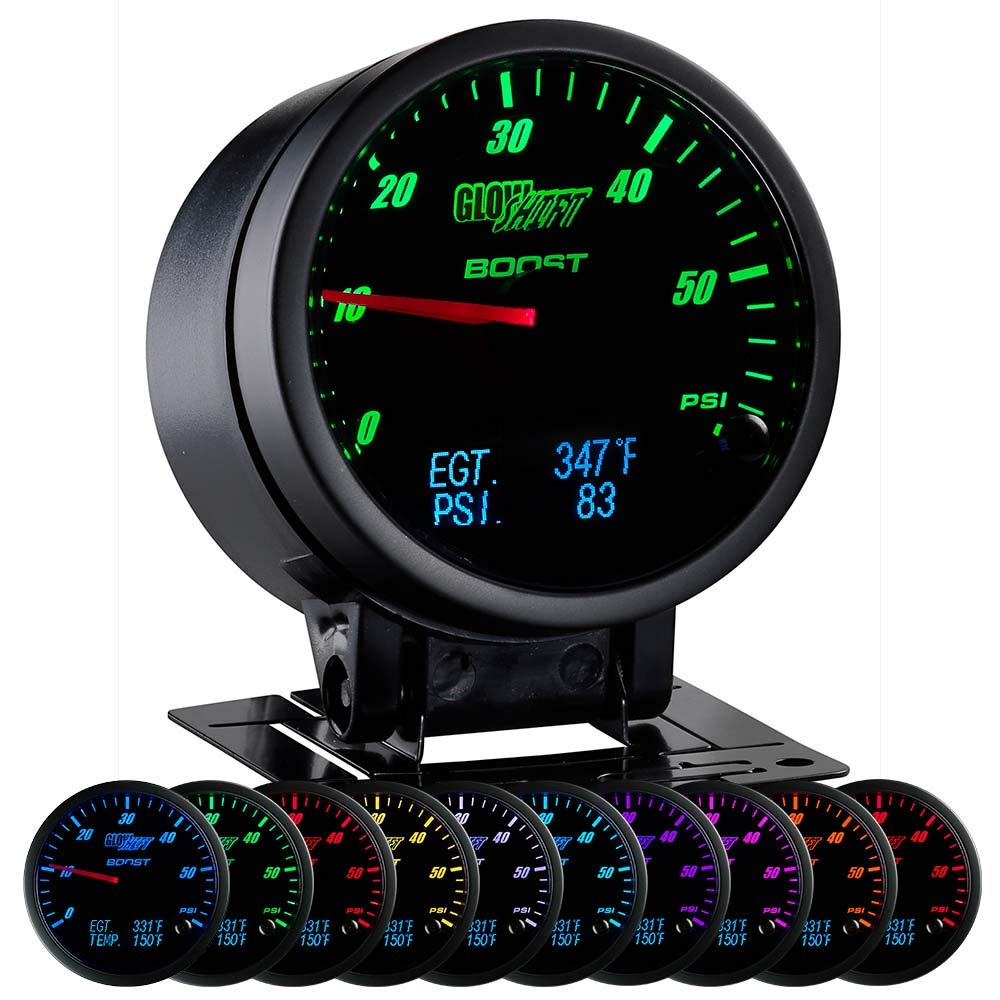 GlowShift 3in1 Analog 60 PSI Boost Gauge Kit with Digital 2200 F Pyrometer Exhaust Gas Temperature EGT & 150 PSI Pressure Readings - 10 Selectable LED Colors - Black Dial - Clear Lens - 2-3/8'' 60mm