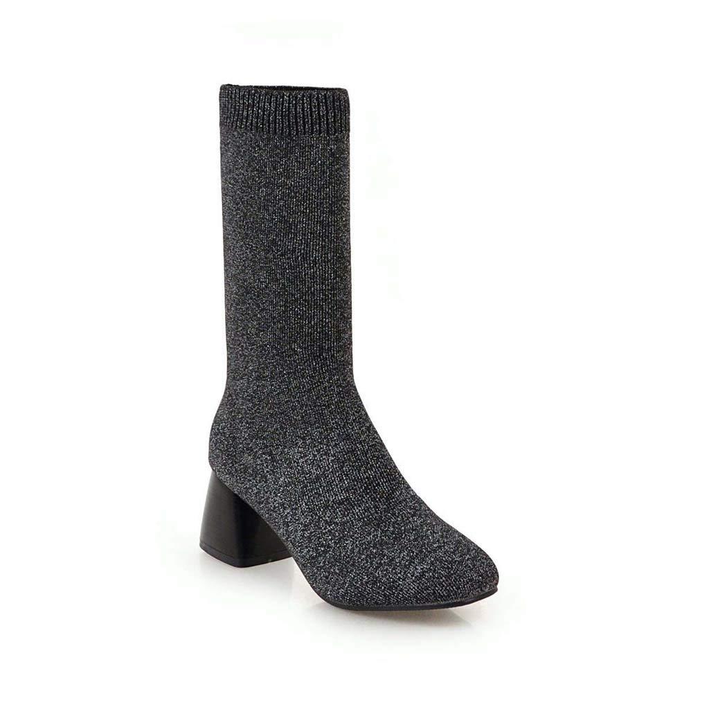 C Bottes pour Dames à la Mode pour Femmes épais avec Talon Haut tête carrée 34-43 Verges, gris Noir Beige 42 EU