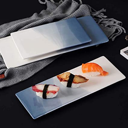 SMC Platos Plato de cerámica Europeo Simple Plato Occidental Plato Rectangular Placa de Sushi Plato de