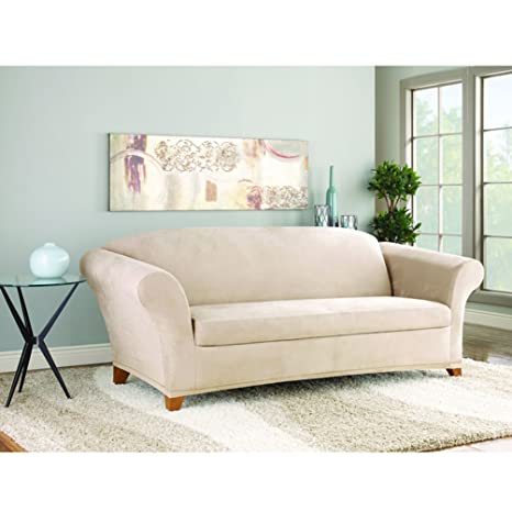 Wondrous Sure Fit Suede Supreme 2 Piece Loveseat Slipcover Taupe Creativecarmelina Interior Chair Design Creativecarmelinacom