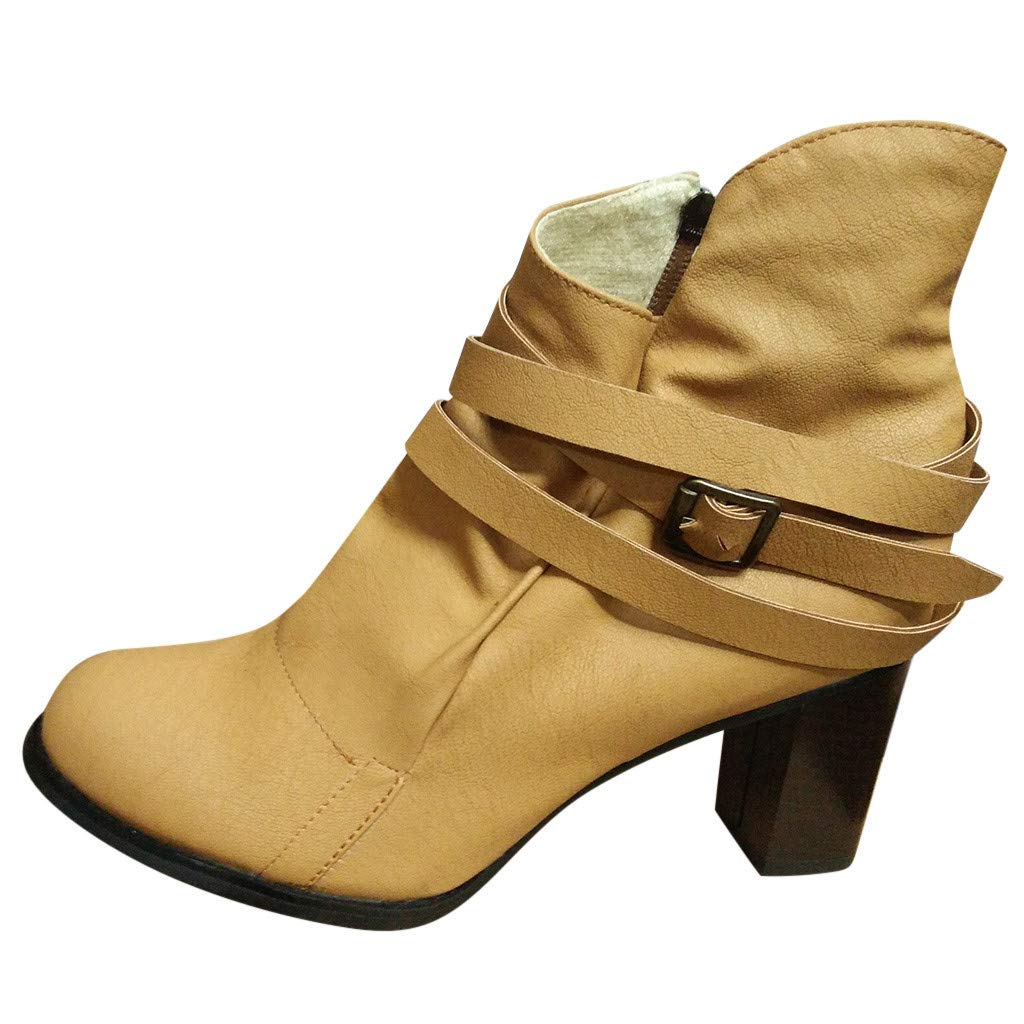 Clearance! Swiusd Womens Roman Short Booties Retro Buckle Strap Single Shoes Comfy Midi Heel Zip Closure PU Leather Loafer Sandals (Yellow, 7.5)