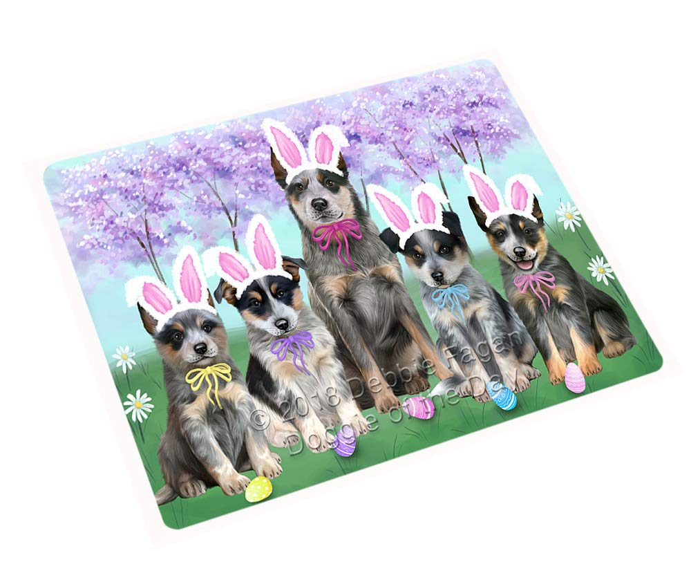 Doggie of the Day Easter Holiday Blue Heelers Dog Blanket BLNKT131646 (60x80 Woven)