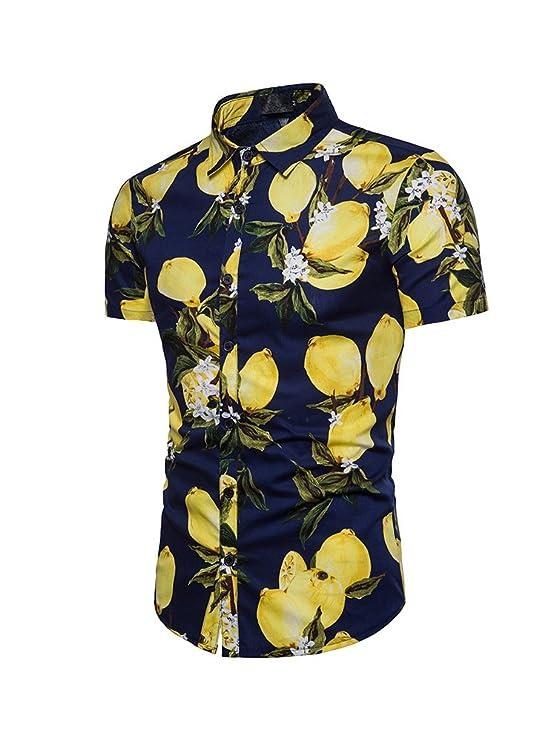 Simgahuva Hombres Camisa Hawaiana Piña Aloha Shirts 1qo6j