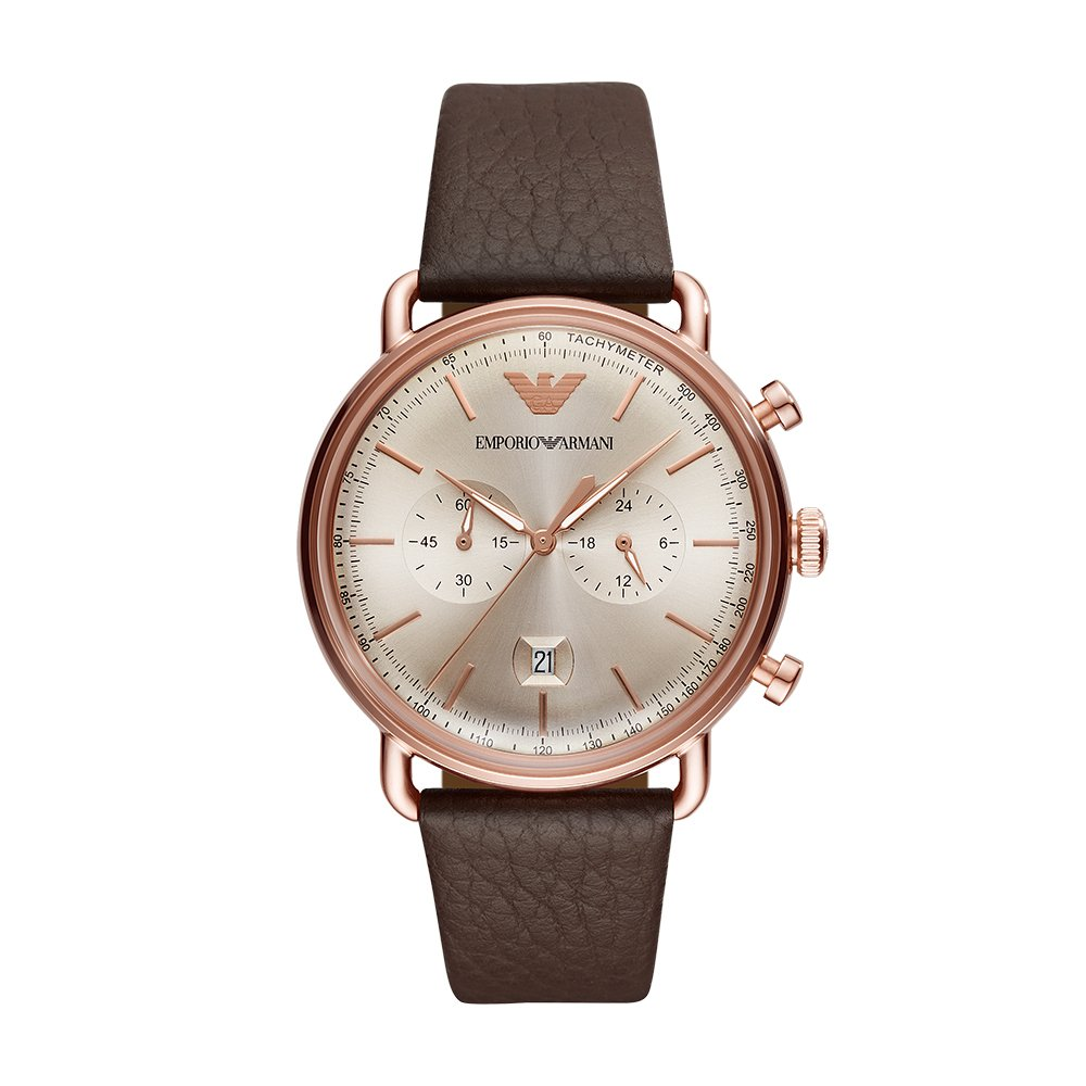 Amazon.com: Emporio Armani Mens Dress Stainless Steel Quartz Watch with Leather Calfskin Strap, Brown, 22 (Model: AR11106: Emporio Armani: Watches