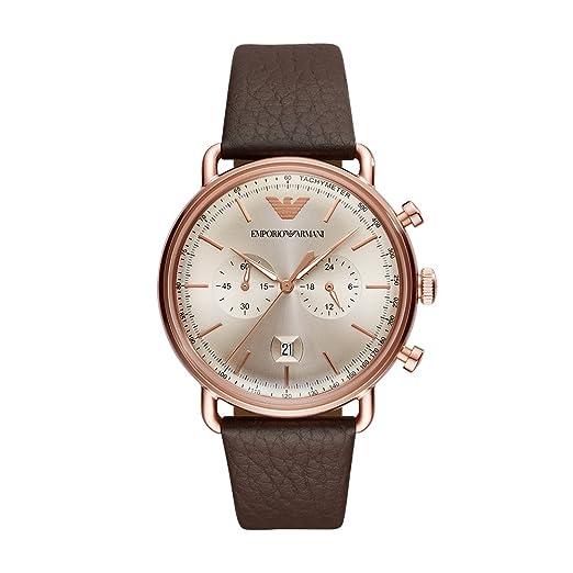 Emporio Armani Reloj Analogico para Hombre de Cuarzo con Correa en Cuero AR11106: Amazon.es: Relojes