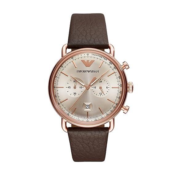 cdda2c86ae Emporio Armani Reloj Analogico para Hombre de Cuarzo con Correa en Cuero  AR11106: Amazon.es: Relojes