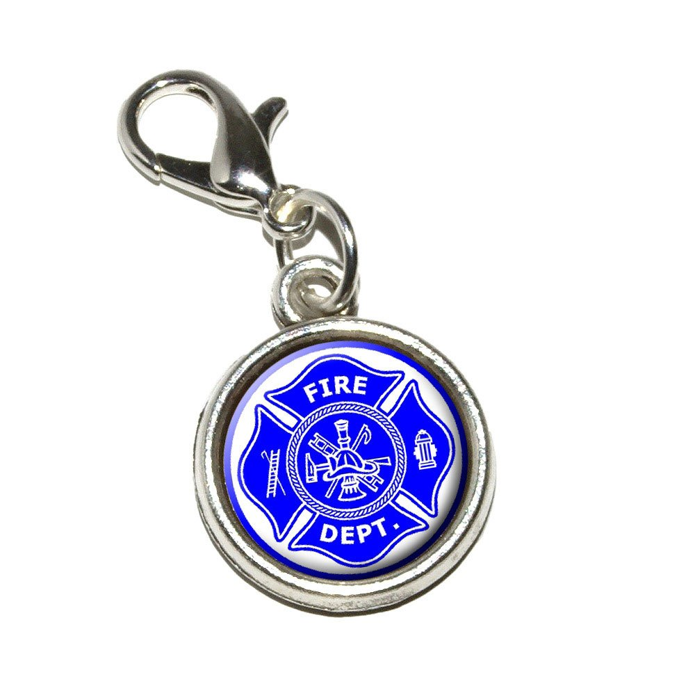 Graphics and More Firefighter Firemen Maltese Cross Blue Antiqued Bracelet Pendant Zipper Pull Charm with Lobster Clasp