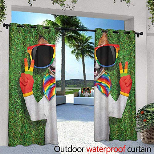 Pride Sliding Door Curtain Funny Face Gay Dog Lying on Green Grass with Peace Signs and Giant Sunglasses Humor Grommet Curtains for Bedroom 84