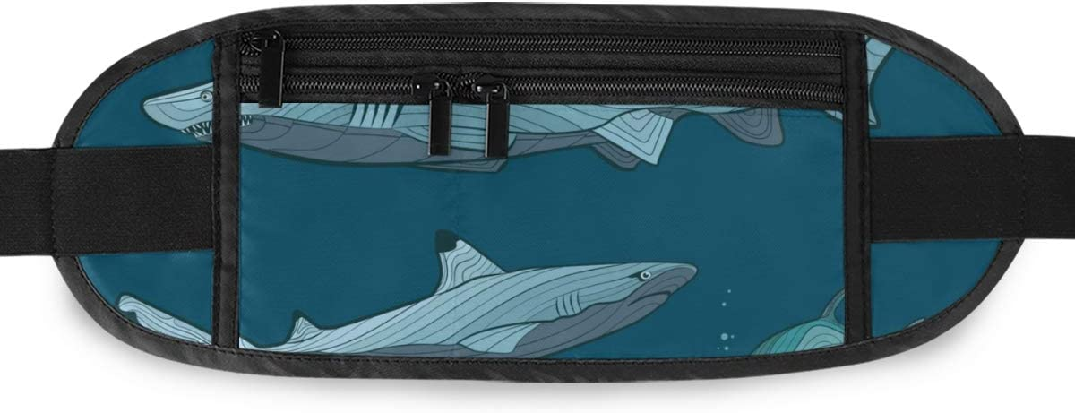 Travel Waist Pack,travel Pocket With Adjustable Belt Decorative Sharks Sea Fish Running Lumbar Pack For Travel Outdoor Sports Walking