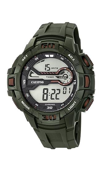 Calypso Hombre Reloj Digital con Pantalla LCD Pantalla Digital Dial y Correa de plástico Verde k5695