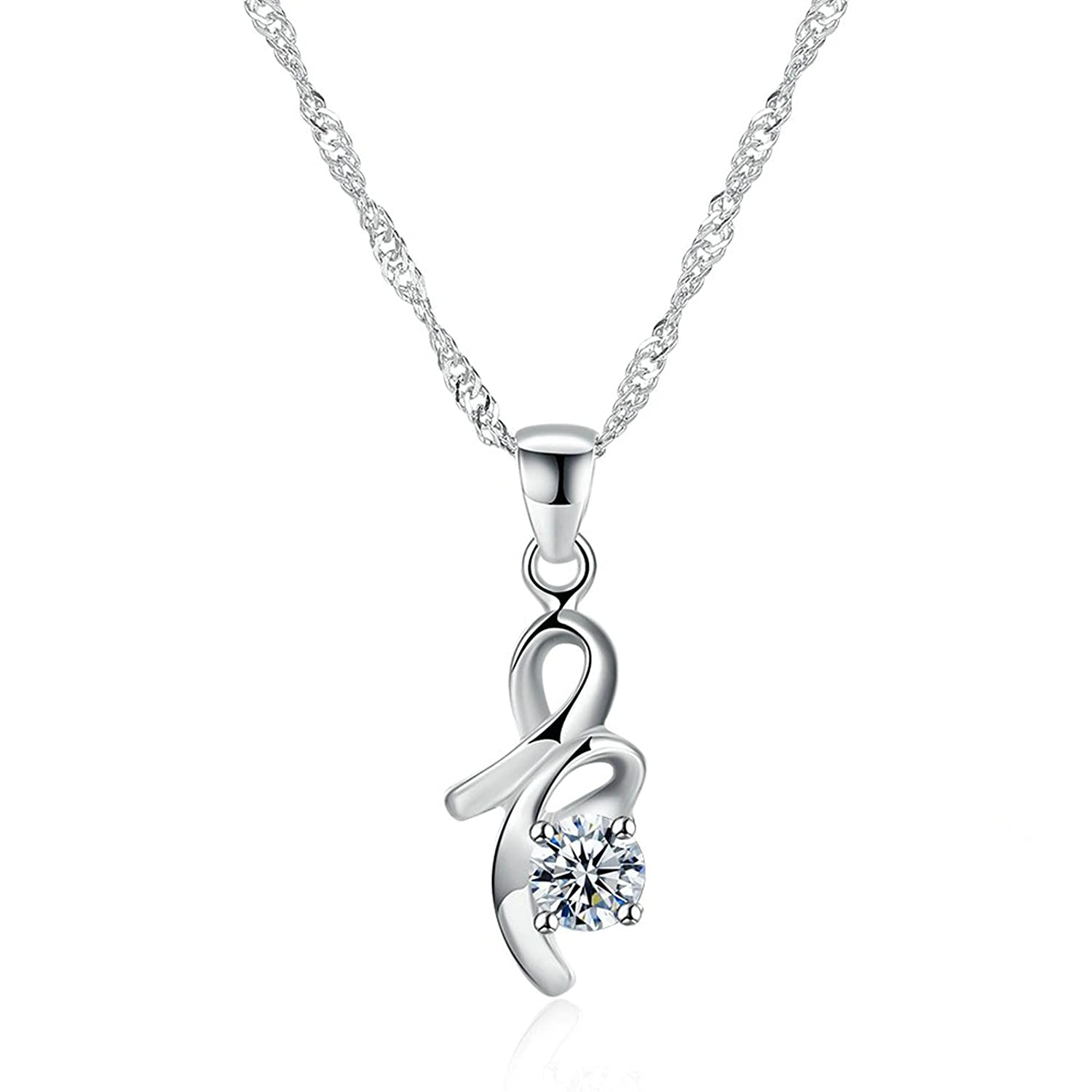Daesar Silver Plated Necklace for Women Streamlined Figure 8 Cubic Zirconia White Chain Length 40+5CM