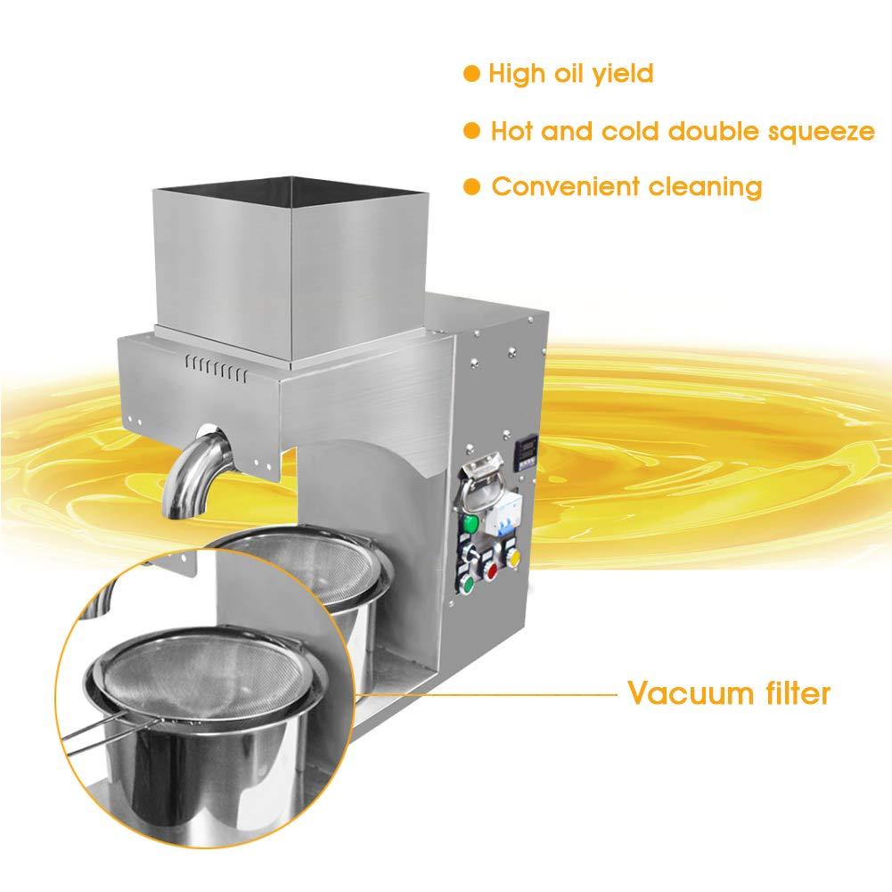 Bespick Máquina de Prensa de Aceite Automática 1500W Comercial Acero Inoxidable Extracción de Aceite Prensa Frío y Caliente Expulsión de Aceite para ...