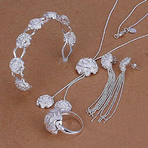Hot Sale Wedding Fashion 925 Silver Plated Jewelry Set Hand Chain Bracelet Necklace Ring Stud Earings Eardrop A Rose With Two Pendant