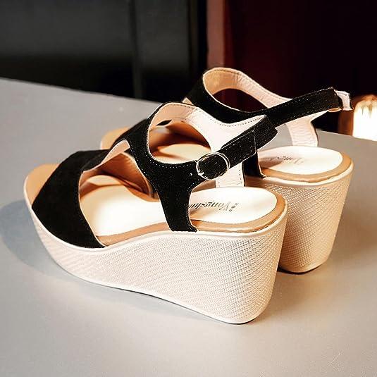 K-Youth Sandalias Mujer Verano Peep Toe Zapatos Cuña Tacon Alto ...