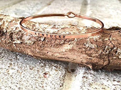 Kentucky Laser Engraved Ultra Skinny Braceelt, hook back bracelet, gold bracelet, Kentucky gift, Kentucky jewelry decor, gold (Skinny Hook)
