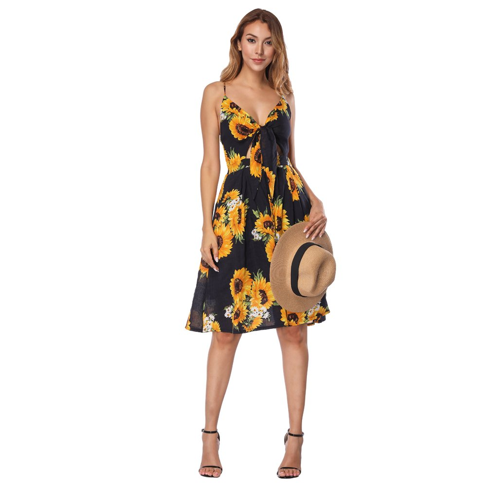 434c2c471d43 Top4: FLYCOOL Sexy Sundresses Floral Summer Tie Front Spaghetti Strap Swing  Midi Dress Pockets