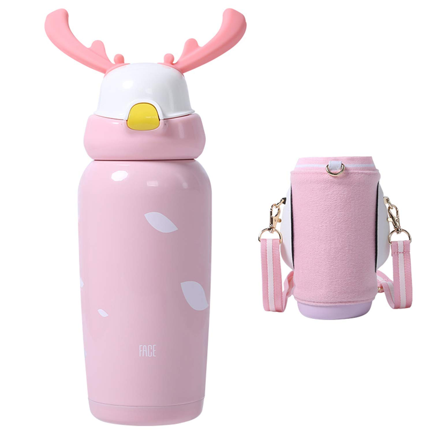 FACE Thermos Water Bottle for Kids & Adult,Vacuum Insulated Bottle,Stainless Steel Travel Mug with Straw,Antlers Thermos Cup Present for Christmas (Pink)