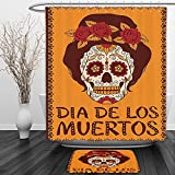 Vipsung Shower Curtain And Ground MatSkulls Decorations Collection Frame with Mexican Skull Girl Female Hairstyle Carnival Smily Ornate Party Image Orange MaronnShower Curtain Set with Bath Mats Rugs
