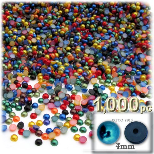 The Crafts Outlet 1000-Piece Pearl Finish Half Dome Round Beads, 4mm, Jewel Tone Mix
