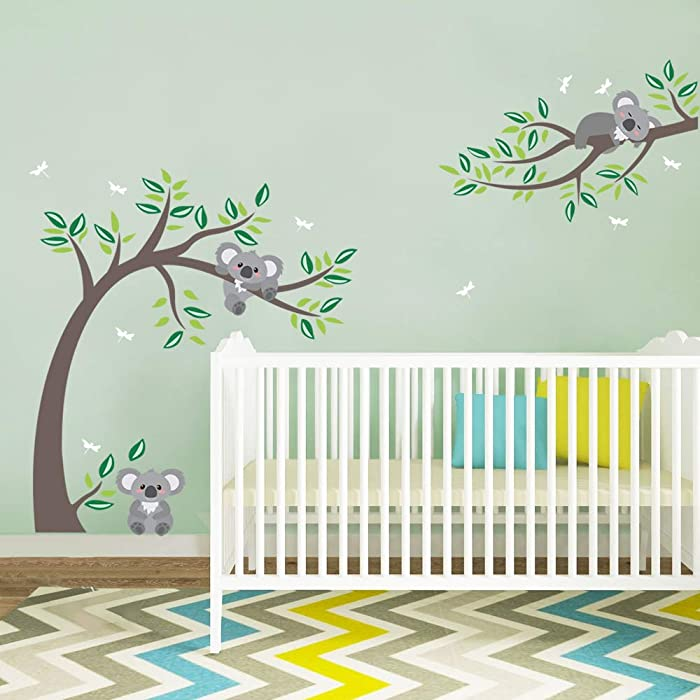 decalmile Koala and Tree Branch Wall Decals Dragonflies Koala Bear Kids Wall Stickers Baby Nursery Childrens Bedroom Wall Decor