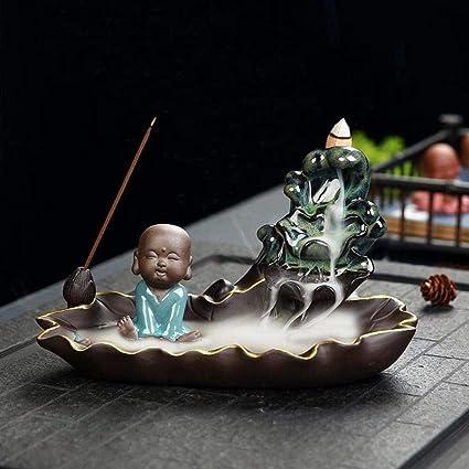 家庭用アロマディフューザー 装飾香炉還流、美しいハンドメイドセラミック香コーン還流シート (Color : A)