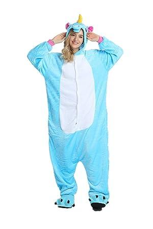 2eed832024 Rainbow Unicorn Schlafanzug Unisex Erwachsene Einhorn Pyjama Tier Flanell  Cosplay Jumpsuits Kostüme Party Overalls Halloween Karneval