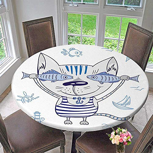 (Mikihome Chateau Easy-Care Cloth Tablecloth Naughty Cat with in Striped T Shirt Pendant and Sign Blue Grey for Home, Party, Wedding 50