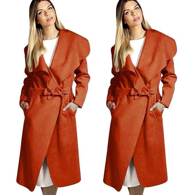 Abrigos para Mujer Chaqueta para Mujer Outwear Chaqueta de Invierno Otoño e Invierno Abrigo de Invierno de Manga Larga Correa de Solapa Ancha Bolsillo ...