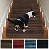 Stair Treads Non-Slip Carpet Indoor Set of 13 Brown Carpet Stair Tread Treads Stair Rugs Mats Rubber Backing (30 x 8 inch),(Brown, Set of 13)