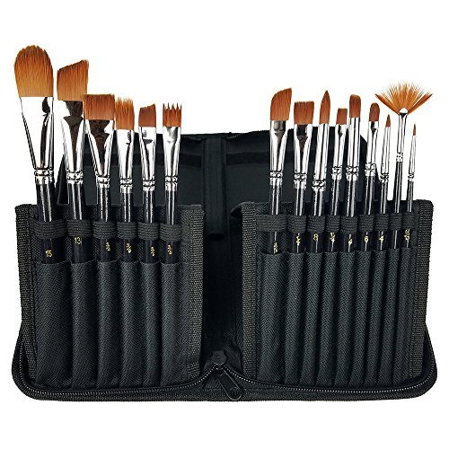 CP Art Watercolor Brushes 15 Piece Acrylic Paint Set  Includes Carrying Case With Brush Stand For Hobby And Face Painting
