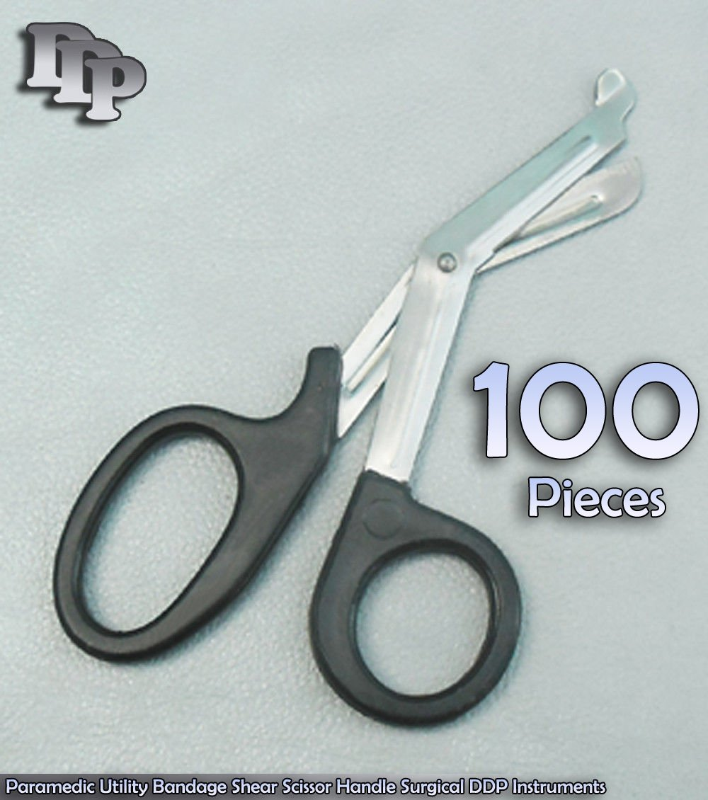 100 PCS Of Paramedic Utility Bandage Shear Scissor 7.25'' Black Handle Surgical DDP Instruments