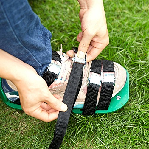 RVZHI Lawn Aerator Shoes with 4 Straps and Heavy Duty Metal Buckles - Spiked Sandals Shoes Garden Tool (Black) by RVZHI (Image #4)